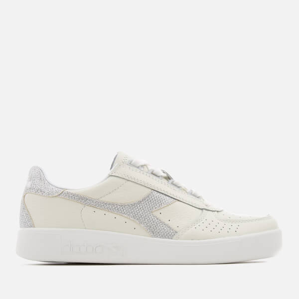 Diadora Women's B.Elite I Grained Leather Trainers - White/Silver