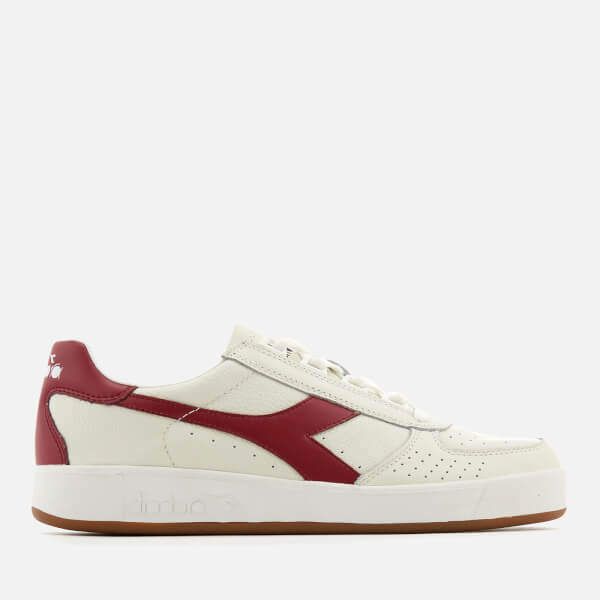 Diadora Men's B.Elite L Grained Leather Trainers - White/Tibetan Red