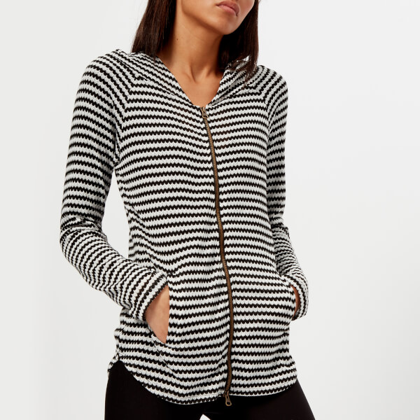 Pepper & Mayne Women's Fine Gauge Scallop Knit Hoody - White/Black