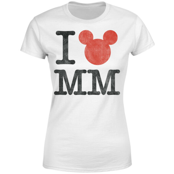 Disney Mickey Mouse I Heart MM Women's T-Shirt - White