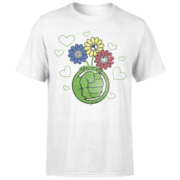 Marvel Avengers Hulk Flower Fist T-Shirt - White