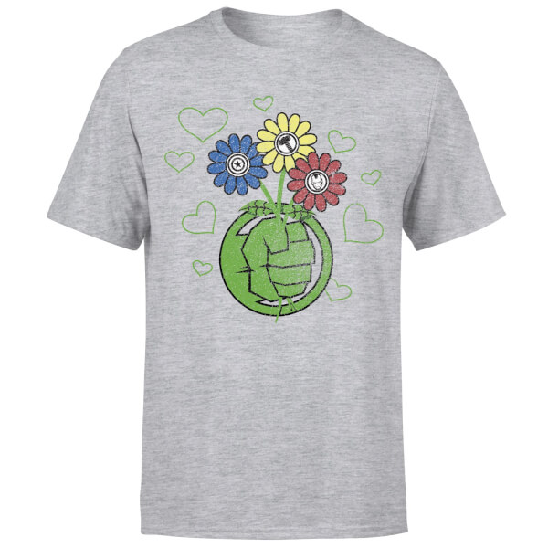 Marvel Avengers Hulk Flower Fist T-Shirt - Grey