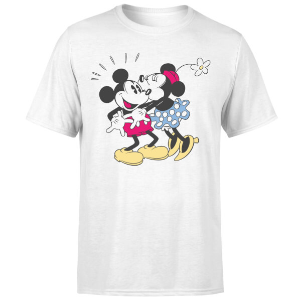 Disney Mickey Mouse Minnie Kiss T-Shirt - White