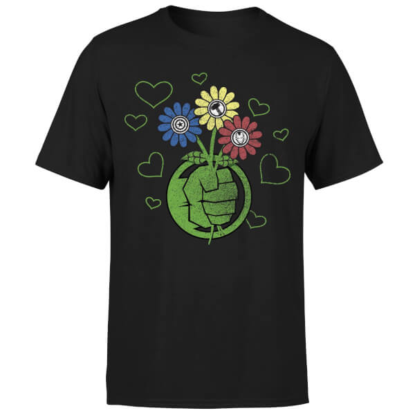 Marvel Avengers Hulk Flower Fist T-Shirt - Black