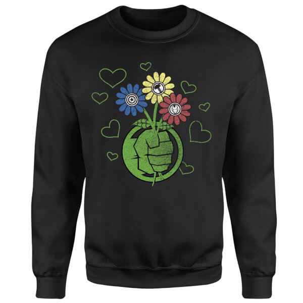 Marvel Avengers Hulk Flower Sweatshirt - Black