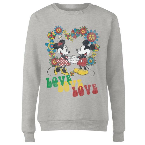 Disney Mickey Mouse Hippie Love Women's Sweatshirt - Grey