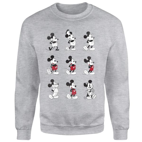 Disney Mickey Mouse Evolution Nine Poses Sweatshirt - Grey