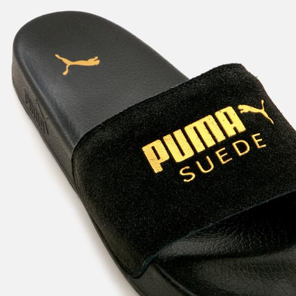 beba6aa41ce Puma Leadcat Suede Slide Sandals - Puma Black Puma Team Gold Womens ...