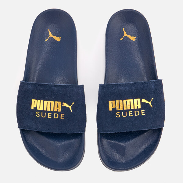 Puma Men's Leadcat Suede Slide Sandals - Peacoat/Puma Team Gold