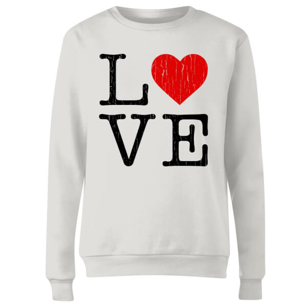 Love Heart Textured Women's Sweatshirt - White