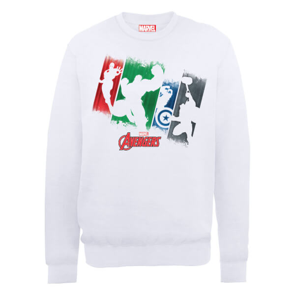 Marvel Avengers Assemble Team Punch Out Sweatshirt - White