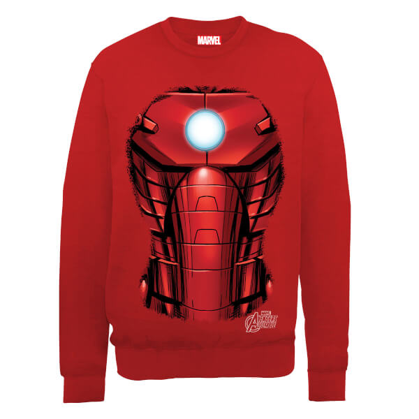 Marvel Avengers Assemble Iron Man Chest Burst Sweatshirt - Red