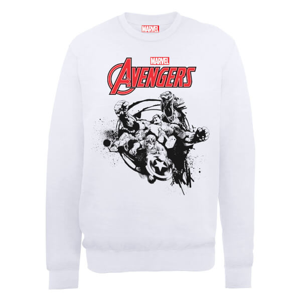 Marvel Avengers Assemble Team Burst Sweatshirt - White