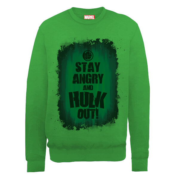Marvel Avengers Assemble Hulk Stay Angry Sweatshirt - Green