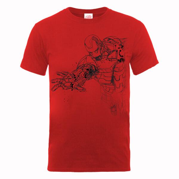 Marvel Avengers Assemble Iron Man Mono Sketch T-Shirt - Red