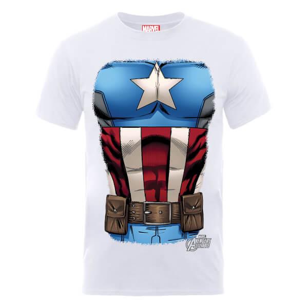 Marvel Avengers Assemble Captain America Chest T-Shirt - White