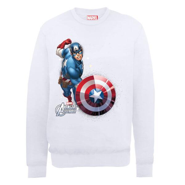 Marvel Avengers Assemble Captain America Comic Burst Sweatshirt - White