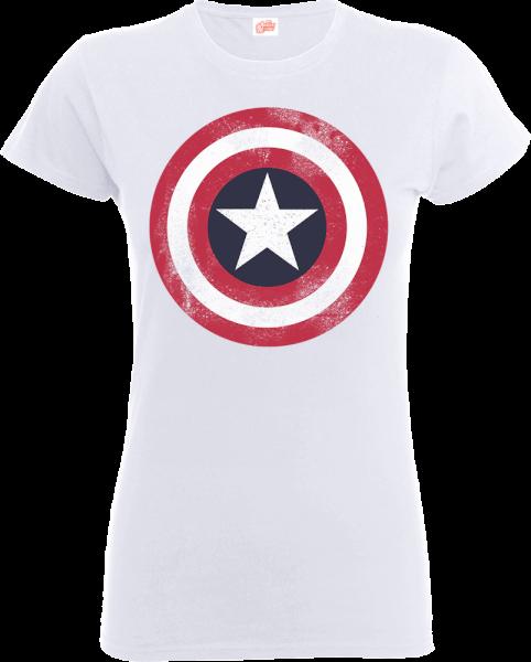 Marvel Avengers Assemble Captain America Distressed Shield Women's T-Shirt - White