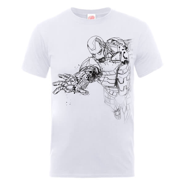 Marvel Avengers Assemble Iron Man Mono Sketch T-Shirt - White