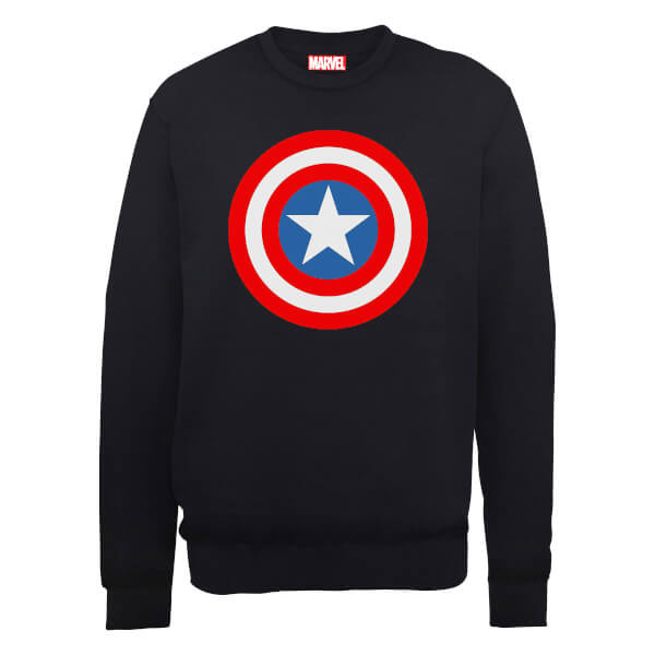 Marvel Avengers Assemble Captain America Simple Shield Sweatshirt - Black