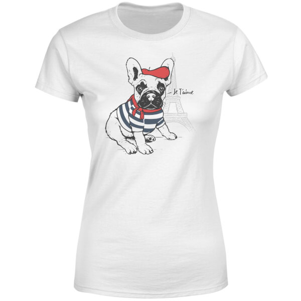 Je T'aime Frenchie Women's T-Shirt - White