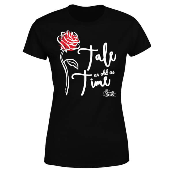 Disney Beauty And The Beast Tale As Old As Time Rose Women's T-Shirt - Black