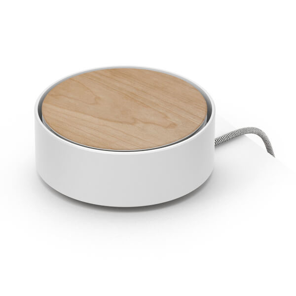 Native Union Eclipse 3 Port USB Single Touch Wood Charger - White