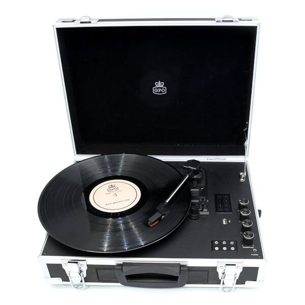 GPO Retro Flight Case 3-Speed Vinyl Turntable with Built-In Speakers - Black/Silver