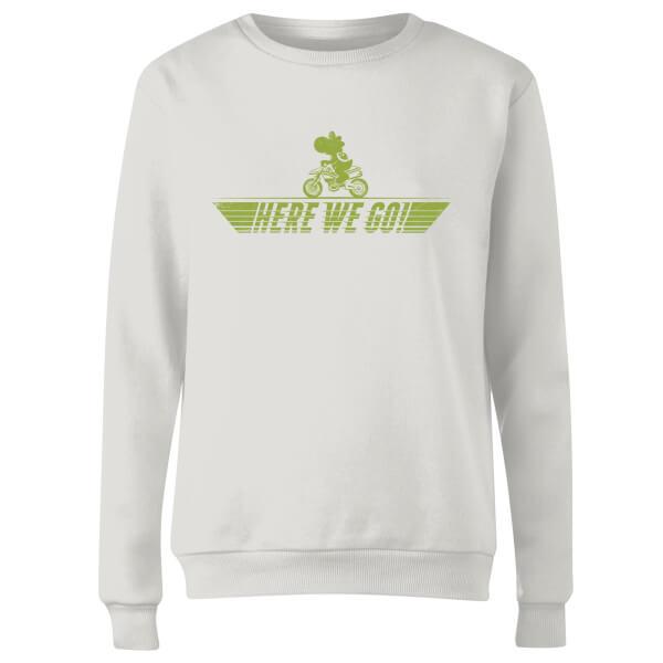 Mario Kart Yoshi Here We Go Women's Sweatshirt - White
