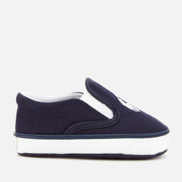Polo Ralph Lauren Babies' Bal Harbour II Canvas Slip-On Trainers - Navy/White