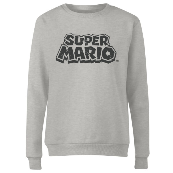 Nintendo Super Mario Distressed Logo Women's Sweatshirt - Grey