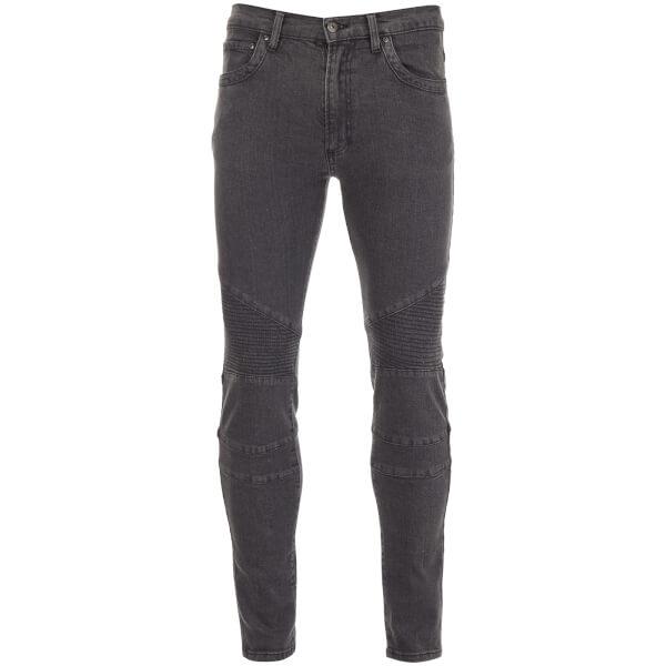 D-Struct Men's Biker Slim Fit Jeans - Grey