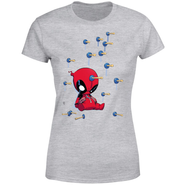 Marvel Deadpool Cartoon Knockout Women's T-Shirt - Grey