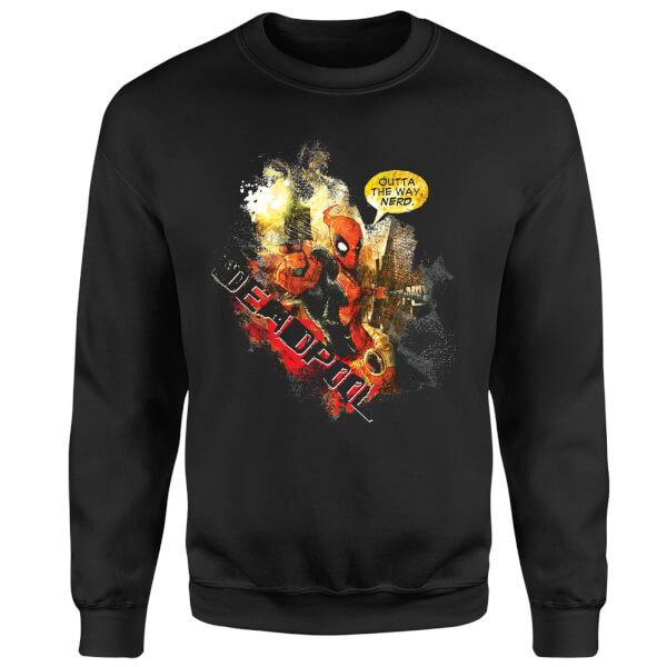 Marvel Deadpool Outta The Way Nerd Sweatshirt - Black