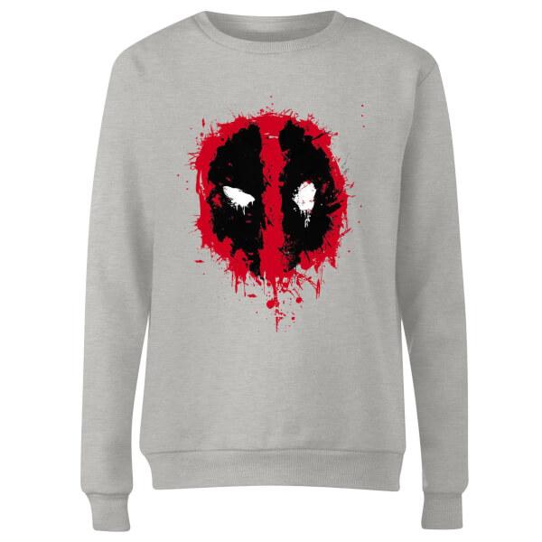 Marvel Deadpool Splat Face Women's Sweatshirt - Grey