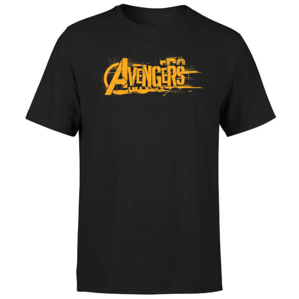 t shirt homme avengers infinity war marvel logo orange noir pop in a box france. Black Bedroom Furniture Sets. Home Design Ideas