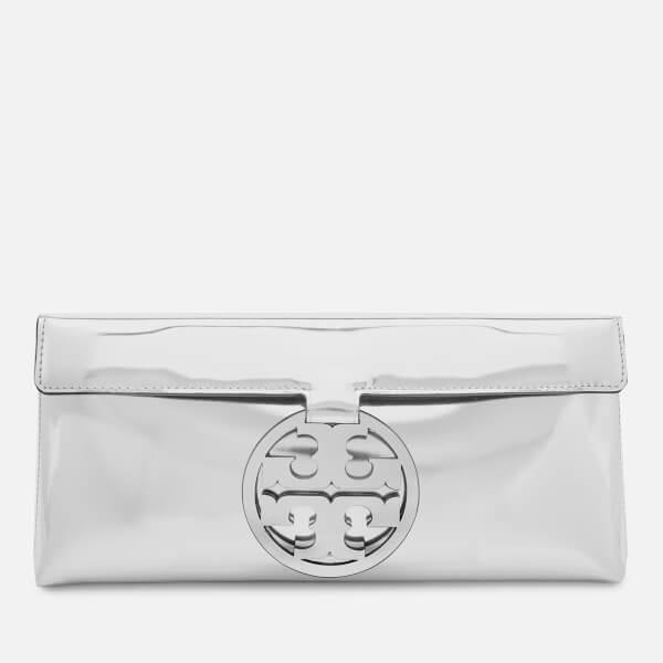 401ce2ec4 Tory Burch Women s Miller Mirror Metallic Clutch Bag - Tory Silver  Image 1
