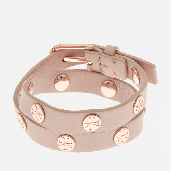6a688d2562236 Tory Burch Women s Double Wrap Logo Stud Bracelet - Light Oak Rose Gold   Image