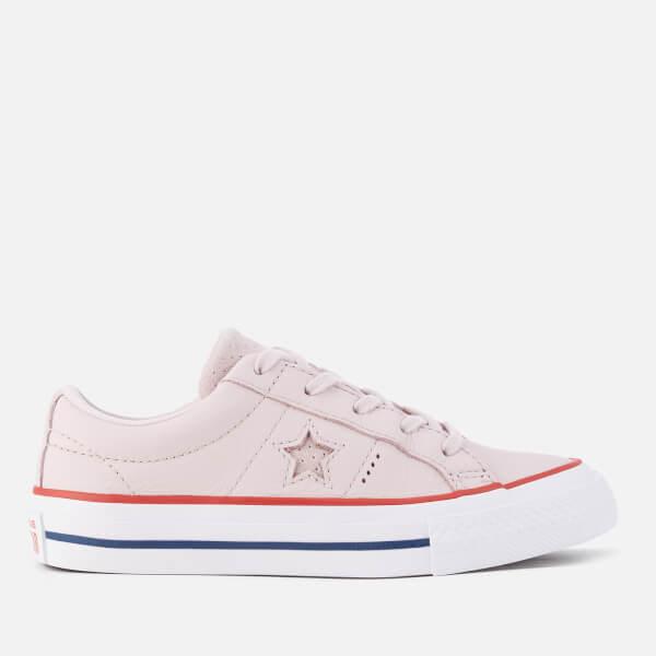 Converse Kids' One Star Ox Trainers - Barely Rose/Gym Red/White