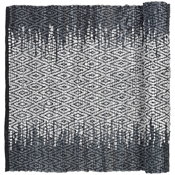 Broste Copenhagen Unnr Leather Cotton Rug - Natural Grey - 70cm x 140cm