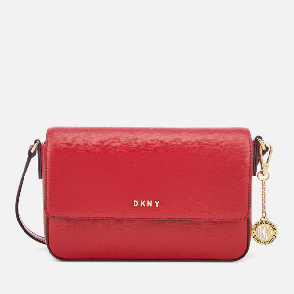 Dkny Women's Bryant Medium Sutton Textured Leather Flap Cross Body Bag   Safari Red by The Hut