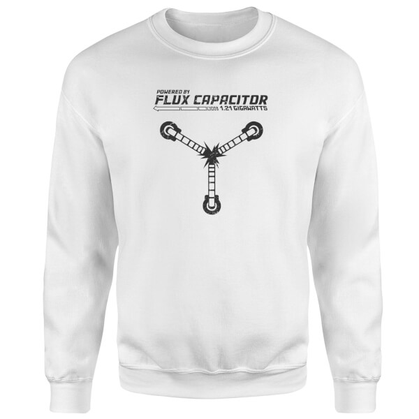 Back To The Future Powered By Flux Capacitor Sweatshirt - White
