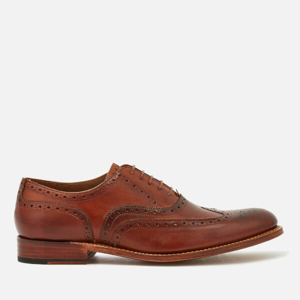 Grenson Men's Dylan Hand Painted Leather Wingtip Brogues - Tan