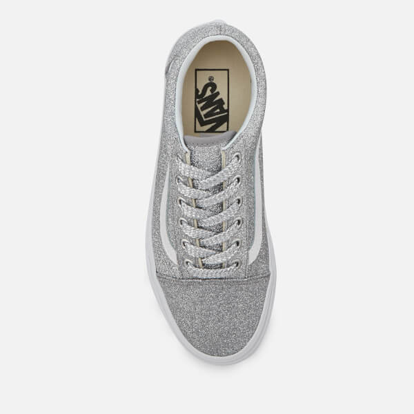 7fe7abbc609 Vans Women s Old Skool Lurex Glitter Trainers - Silver True White  Image 3