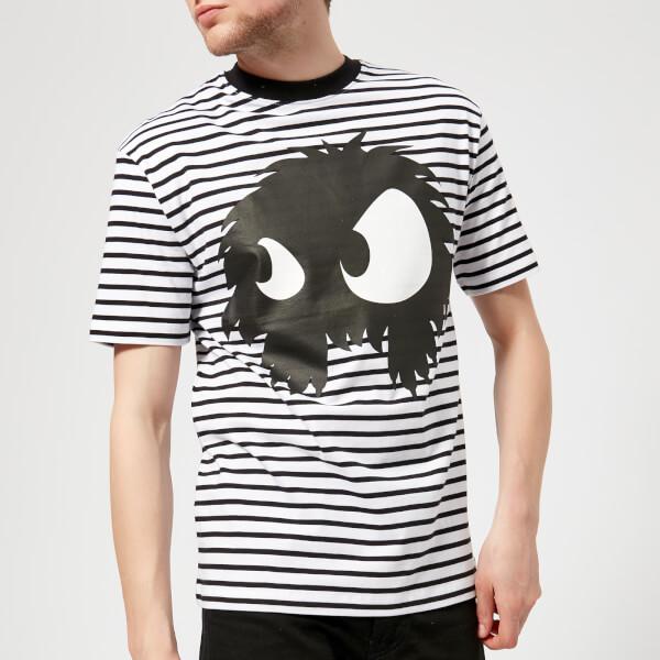 Hombres Chester Mad Alexander Hombro Camiseta Mcq Stripes caído Blackwhite Mcqueen EwpqORf
