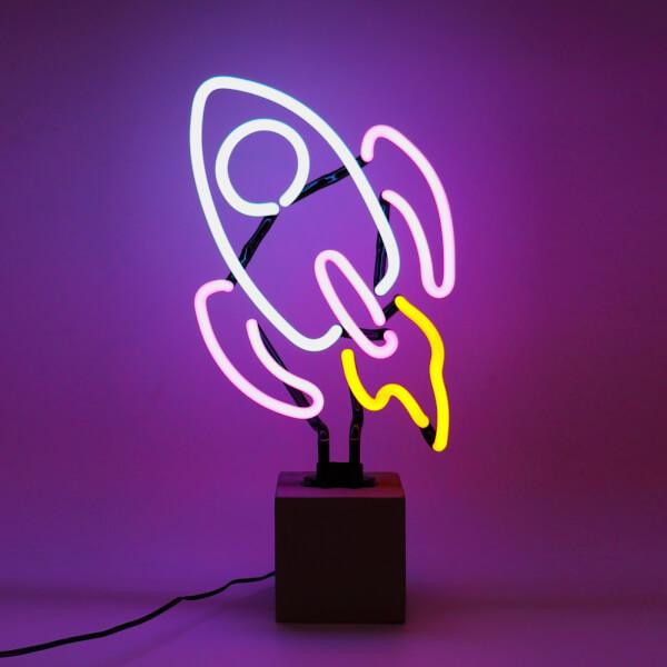 Rocket Neon Light - Concrete Base