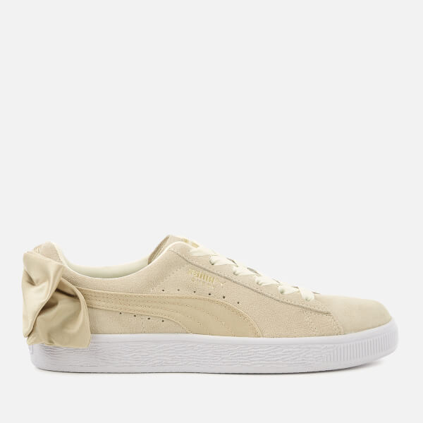 Puma Women's Suede Bow Varsity Trainers - Marshmallow/Metallic Gold