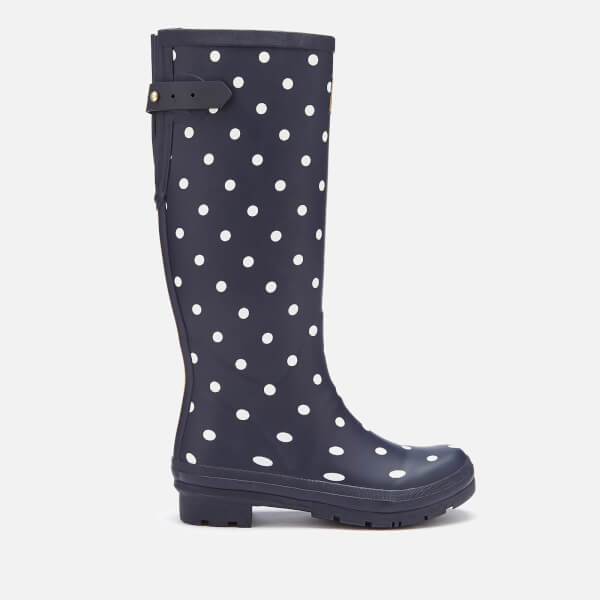 Joules Women's Welly Print Back Adjustable Tall Wellies - French Navy Spot