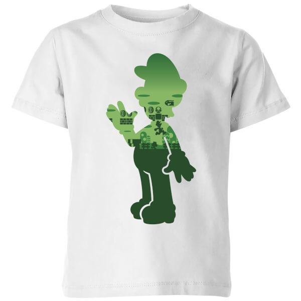 Nintendo Super Mario Luigi Silhouette Kids' T-Shirt - White