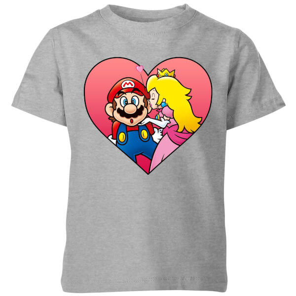 Nintendo Super Mario Peach Kiss Kids' T-Shirt - Grey